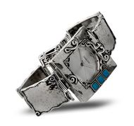 Israeli sterling silver watch set with blue opals