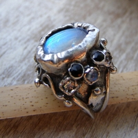 Sterling Silver Queen Ring Moonstone and Onyx Handmade