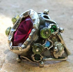 Sterling silver Queen ring pink zircon and Peridot Silver Jewelry