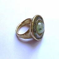 Sterling silver ring gold plated green quartz with Swarovski crystals in green tones