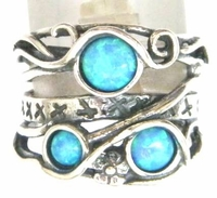 Sterling silver ring set with opals Israeli typical jewelry
