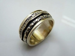 Sterling silver spinner ring Israeli design
