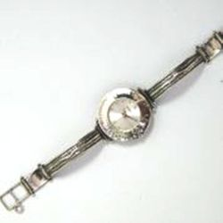 Sterling silver watch for woman. Hammered silver watch