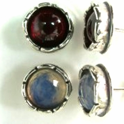 Stud earrings silver & gemstones