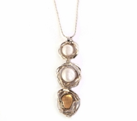 Stylish chic necklace sterling silver& 9 K gold set w/  pearls