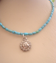Sun charm Turquoise necklace Israeli
