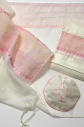 Tallit tallis with golden flowers designs and pink stripes for women