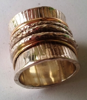 Three tones silver and gold ring