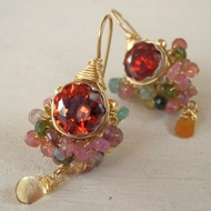 Tourmaline earrings red faceted Swarovski