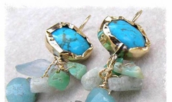 Turquoise amazonite aquamarine silver and gold earrings