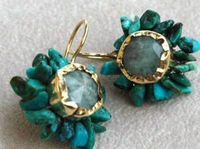 Turquoise and aquamarine floral earrings