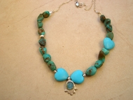 Turquoise and Roman Glass Hamsa Necklace