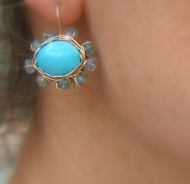 Turquoise apatite earrings dangle floral earrings Video