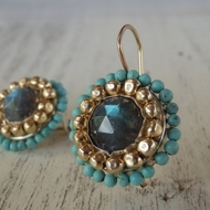 Turquoise labradorite earrings