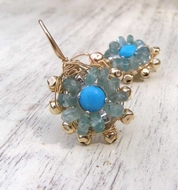 Turquoise Mandala Earrings Gold filled  dangle elegant earrings Video