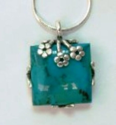 Turquoise pendant silver necklace