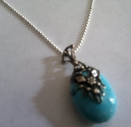 Turquoise silver filigree necklace for woman