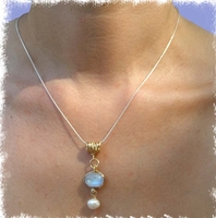 Twisted gold filled and moonstone silver necklace