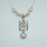 Unique Designer 925 Silver Gift Necklace Freshwater Pearls