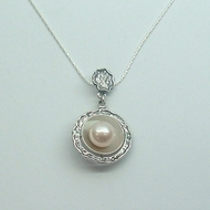 Unique Designer 925 Silver Gift Pendant with Freshwater Pearl