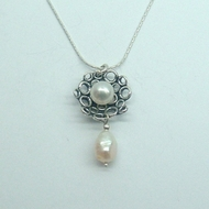 Unique Designer 925 Silver Gift Pendant with Freshwater Pearls