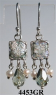 Unique jewelry pearls earrings ancient roman glass