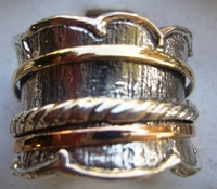 Waves spinner ring silver & 9 ct gold