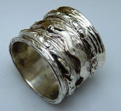 Wide band spinner ring sterling silver designer rings