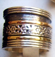 Wide ring spinner ring silver gold