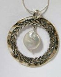 Sterling silver necklace with dangling pearl