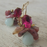 Woman's earrings | colourful gemstones & crystals dangle earrings