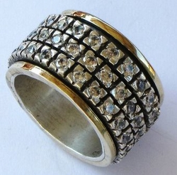 Cubic Zirconia Ring spinning ring silver and gold Israel jewelry
