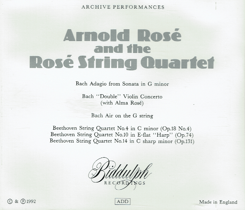 Arnold Rose and the Rose String Quartet - Bach & Beethoven