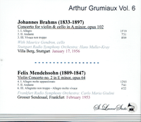 Arthur Grumiaux, Vol. VI;  Maurice Gendron;  Giulini;  Muller-Kray   (St Laurent Studio YSL T-761)