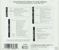 Arturo Toscanini  -  Music of France  (4-Music & Arts 898)