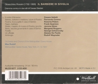 Barbiere   (Rudolf;  Valletti, Guarrera, Corena, Hines, Roberta Peters)  (2-Walhall 0277)