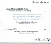 Bruno Maderna, Vol. XXXIV - Ages;  Satyricon   (St Laurent Studio T-779)
