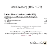 Carl Eliasberg  -  Shostakovitch Seventh Symphony  (St Laurent Studio YSL T-922)