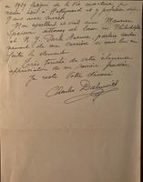 Charles Dalmores (Signed Note w. Mailing Envelope)