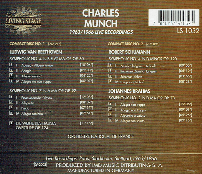 Charles Munch - Beethoven, Schumann & Brahms (2-Living