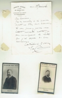 Colonne, Eduoard  -  Signed note & mounted 2 sepia photo cards, etc.