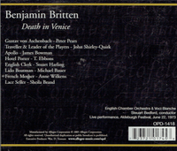 Death in Venice (Britten)  Steuart Bedford;  Peter Pears, John Shirley-Quirk, James Bowman  (2-Opera d'Oro OPD 1418)