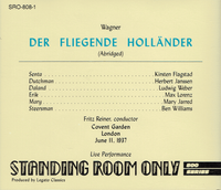 Der Fliegende Hollander - Excerpts  (Reiner;  Flagstad, Janssen, Weber, Lorenz)   (Standing Room Only SRO 808)