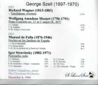 George Szell, Vol. VIII;   Robert Casadesus     (2-St Laurent Studio YSL T-495)