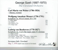 George Szell, Vol. X, [Szell's final Cleveland Concert]  (2-St Laurent Studio YSL T-618)