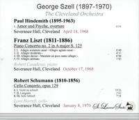 George Szell, Vol. XII;  Robert Casadesus;  Lynn Harrell   (St Laurent Studio YSL T-620)