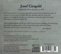 Josef Gingold - Interview    (Atlantic Crossing ARC 0003)