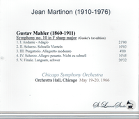 Jean Martinon, Vol. IV  -  Mahler 10th - CSO - Cooke, 1st Version  (St Laurent Studio YSL T-873)