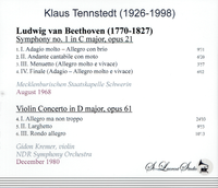 Klaus Tennstedt, Vol. XIV; Gidon Kremer  -  London &  NDR  (St Laurent Studio YSL T-766)