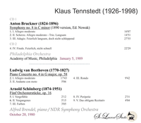 Klaus Tennstedt, Vol. XVIII   - Bruckner 8th -  Philadelphia;  Brendel    (2-St Laurent Studio YSL T-789)